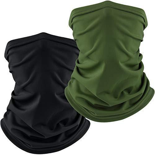 BKPK 2 Pack Braga Cuello Calentador Pañuelos Multifuncional Máscara Bufanda Bandana Elastica Suave para Ciclismo Motocicleta Senderismo Camping, Hombre Mujer (Negro+Verde Musgo)