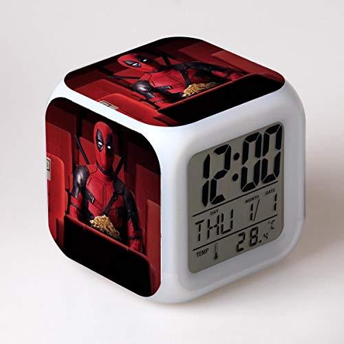 JCYY Niños Cabecera Dibujos Animados Despierta Despertador LED 7 Colores USB Digital Relojes Niños Habitación Inalámbrico Dormitar Reloj Cumpleaños Regalo por Muchachas Niños Adolescentes,01
