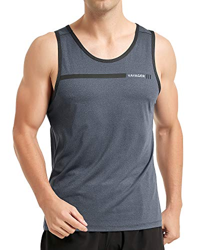 VAYAGER Men's Quick Dry Workout Tank Tops Bodybuilding Gym Athletic Training Sleeveless Shirts(Grey M)