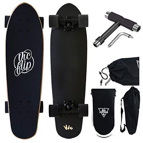 Skateboards Mini Cruiser Skateboard 27 X 8 inches, Maple Deck Concave Cruiser Trick Skateboard,Short Board Designed for Kids, Teens and Adults,Black