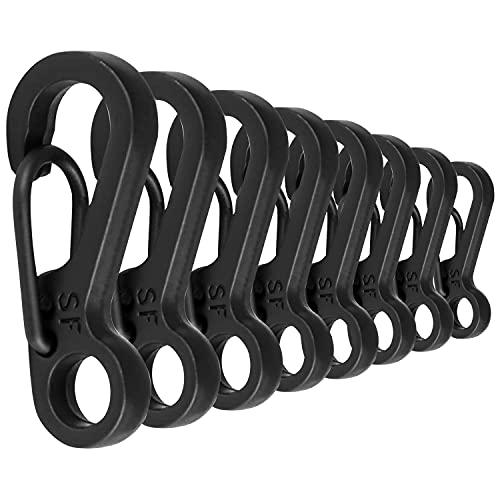CZ Store Mosquetones Pequeños de Plástico | Pack de 10 | Negro | GARANTÍA DE por Vida - Alta Resistencia, 15 kg - Ganchos...