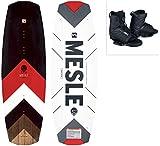 MESLE Wakeboard Set Pilot mit Core Bindung, Progressive Rocker, Slider Base, für Fortgeschrittene und Profis, für Cable und Boot, Längen 134 cm, 138 cm,...
