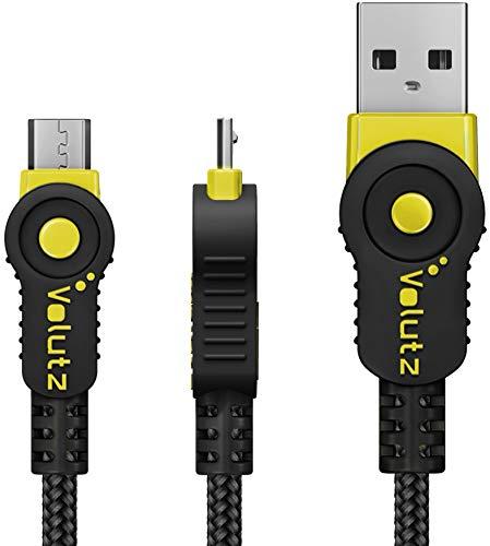 Volutz Cable Micro USB 1M Cable de Carga para Mando PS4, Trenzado, Resistente y rápido, para Samsung Galaxy S6 S7, HTC, Sony, LG, Kindle, Xbox One, 1 m - Color Amarillo