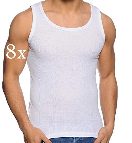 Herren Tank Top (8-Pack) Unterhemd Shirt Baumwolle Achselhemd Feinripp Gr M-XXXL (L, Weiß Feinripp)