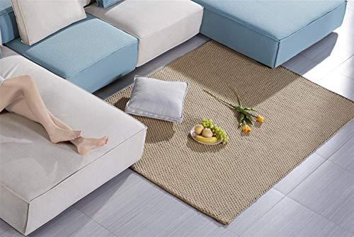 Liveinu Alfombra de sisal natural hecha a mano, retardante de llama, alfombra de sisal, alfombra moderna de alta calidad, cenefa, tejido plano de sisal, alfombra de 60 x 120 cm, natural