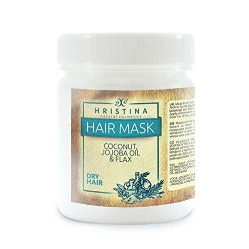 -702- Luxus Kokosnuss Haarmaske Coconut 100% NATURPRODUKT trockenes Haar mit Kokosnuss, Jojoba, Leinsamen & Neem-öl, Feuchtigkeit HRISTINA COSMETICS 200 ml