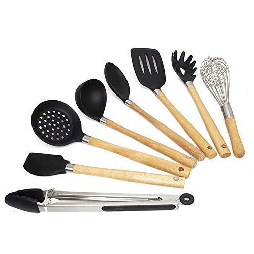 CLH Silicone Wooden Handle Kitchen Utensils 8-piece Set Non-stick Spatula Spoon Set Fishing Fence Food Clip Spaghetti Fishing Egg Beater Spatula A3L1UT (Color : A)