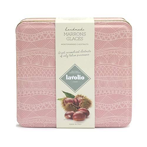 Lavolio Glacés Maronen in Geschenkdose (230 g) - Karamellisierte Esskastanien, neun riesige Montemarano-Kastanien italienischen Ursprungs, Geschenk für Sie oder Ihn