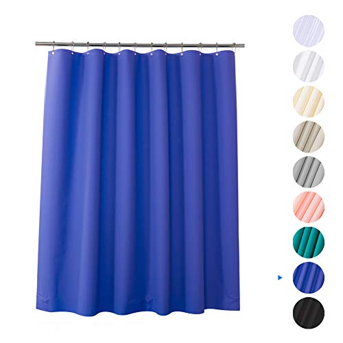 Plastic Shower Curtain, 72' W x 65' H EVA 8G Shower Curtain with Heavy Duty Clear Stones and Grommet Holes, Waterproof Thick Bathroom Plastic Shower Curtains Without Chemical Odor-Blue Purple