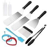 Juego de accesorios para parrilla, juego de herramientas profesionales de acero inoxidable resistente, espátula para parrilla, utensilios de cocina, set de regalo para interiores y exteriores,...