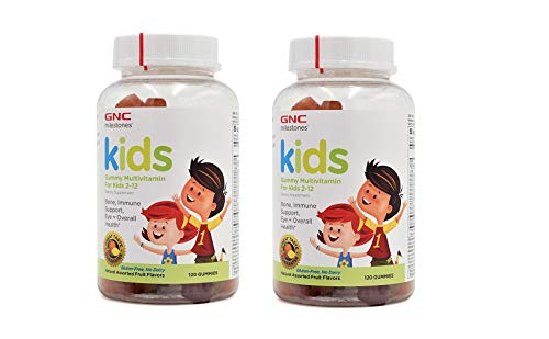 GNC Milestones Kids Gummy Multivitamin for Kids 2-12 Years Old 2 Pack (2 Bottles of 120 Gummies Each Bottle)