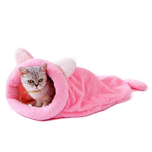 Gofeibao Cama Gato Caseta Perro Interior Pequeño Gato Cama Perro sofá Cama Camas para Gatos Interior Casa de Mascotas Cama de Veterinario para Perros Pink,L