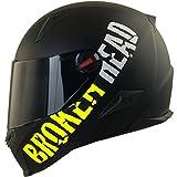 Broken Head BeProud Ltd. - Schlanker Motorradhelm Mit Schwarzem Zusatz-Visier - Matt-Schwarz & Neon-Gelb - Größe S (55-56 cm)