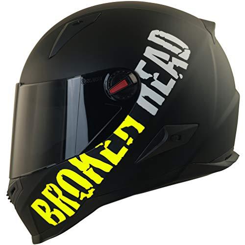Broken Head BeProud Ltd. - Schlanker Motorradhelm Mit Schwarzem Zusatz-Visier - Matt-Schwarz & Neon-Gelb - Größe M (57-58 cm)