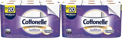 Cottonelle Ultra ComfortCare Toilet Paper, Soft Bath Tissue, Septic-Safe, 12 Big Rolls Pack of 2