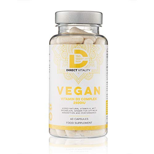 Vegan Vitamin D3 2500IU | Vegan Vitamin K2 75mcg | MCT Oil | Bromelain | Ginger | UK Made