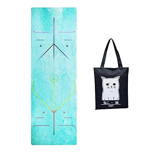 Delmkin - Tappetino da yoga, sottile, portatile, per ginnastica, fitness, con borsa per il trasporto, per yoga, pilates, allenamento a casa, 185 x 68 cm