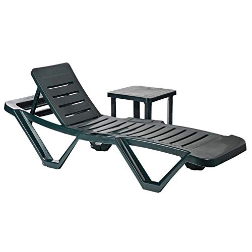Resol 2 Piece Master Plastic Garden Sun Lounger and Side Table Set - Adjustable Reclining Outdoor Furniture - Green