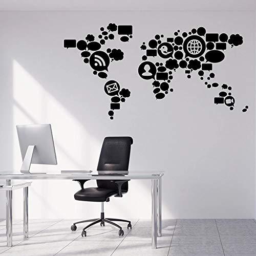 wopiaol tekenen netwerk muur Decal tiener Vinyl Window Stickers sociale media wereld kaart creatief behang office studio interieur decor