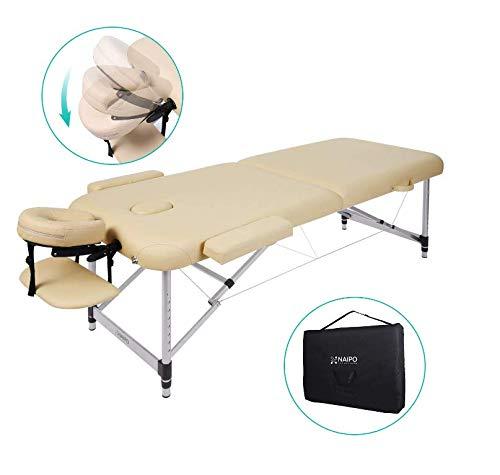 Naipo Massageliege Massagetisch Massagebett Klappbar Höhenverstellbar Tragbar mit 2 Zonen Aluminium-Füßen für Massage Therapie Behandlung Salon Reiki Healing (bis 250kg belastbar) 213*90cm