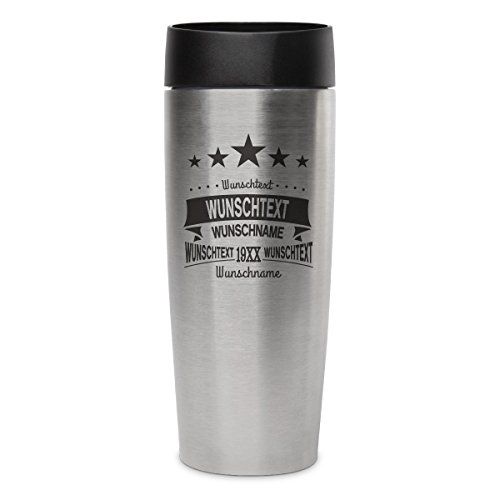 Metmaxx Thermobecher Isolierbecher Kaffeebecher 0,4l inkl. individueller Gravur - 5 Sterne