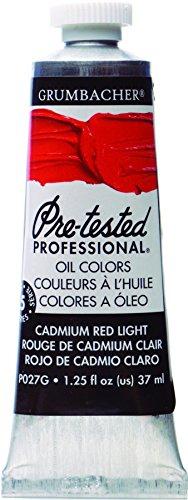 Grumbacher Pre-Tested Oil Paint, 37ml/1.25 oz., Cadmium Red Light (P027G)