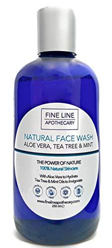 Naturel GEL LAVAGE VISAGE - ALOE VERA, ARBRE À THÉ - 250 ml - de Fine Line Apothecary. Pas de Sulfates, Pas de Parabens, Pas de Parfums Artificiels. Élimine les Impuretés, pour tous Types de Peau.