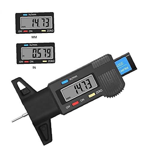Calibrador de profundidad Digital Neumático Profundidad de neumáticos 0-25.4mm Tapa de tortura Testador de profundidad con pantalla LCD Pinza de espesor Herramienta de medición Negro