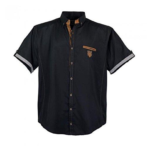 Lavecchia 1128 - Camisa de manga corta para hombre, talla grande, color negro 3-7 XL.