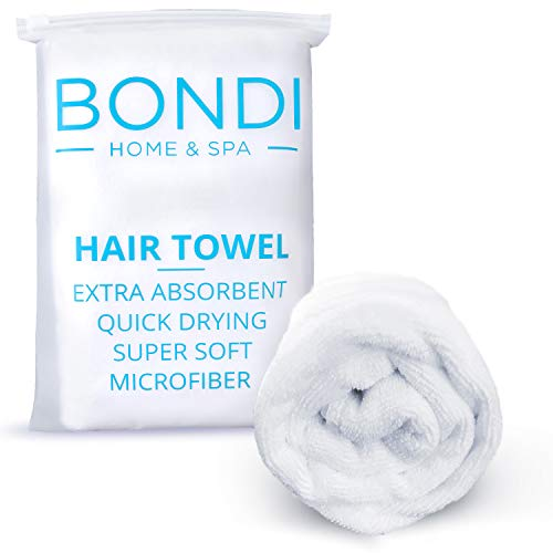 Bondi Home & Spa Microfiber Hair Towel for Women – Super Absorbent, Fast Drying, Large & Soft, 42 x 22 Inches, for Long or Curly Hair