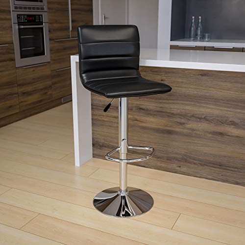 Flash Furniture CH-92023-1-BK-GG Modern Black Vinyl Adjustable Bar...