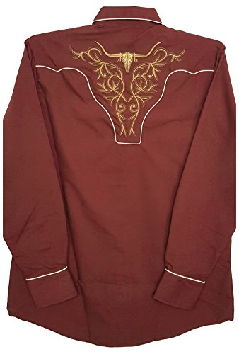 Modestone Men's Embroidered Fitted Western Camicia Cowboy Filigree Bold Longhorn Brown à