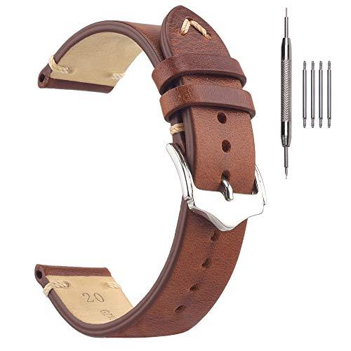 Cinturini per Orologi in Pelle Vintage da 20mm, EACHE Cinturino in Pelle Marrone Chiaro a Cera D'olio per Uomo Donna