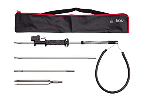 A-jiou Fishing Pole Spear Trigger Glass Fiber 5.5' Travel 3 Pieces Hawaiian Sling with 3 Prong Tip and Bag