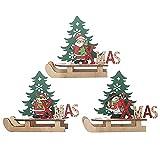 3 Piezas Adornos de Trineo de Madera de Navidad,Adornos de Trineo de Navidad Santa Navidad Trineo Adornos Trineo Decoraciones DIY de Madera para Decoración de Mesa de Fiesta de Cena en Casa de Navidad