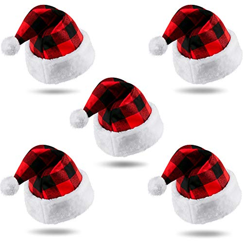 5 Pieces Christmas Santa Hat Christmas Plush Hat Plaid Santa Hat for Christmas Costume Party and Christmas Eve Day
