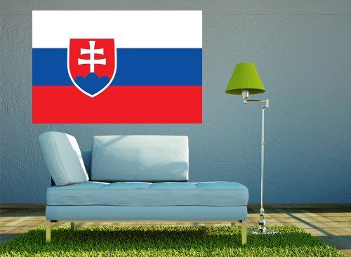 Kiwistar Wandtattoo Sticker Fahne Flagge Aufkleber Slowakei 60 x 40cm