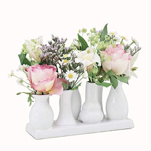 Jinfa Handgefertigte kleine Keramik Deko Blumenvasen Set aus 7 Vasen in weiß