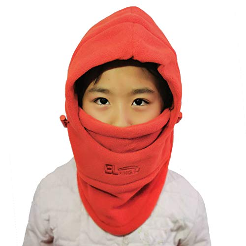 Leories Children's Winter Windproof Cap Thick Warm Face Cover Adjustable Ski Hat Orange
