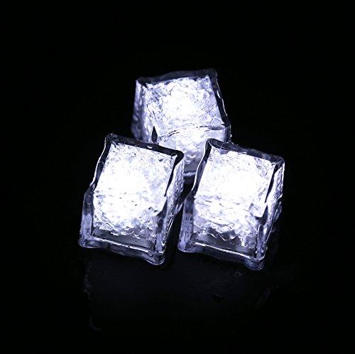 Led Ice Cube invoeren Vloeistof Automatisch gloeit, Waterdichte Led Lamp, Into Ice Bucket of Champagne Tower te gebruiken, van toepassing op Bar, Club, bruiloft, familiefeest (Pack of 12) white