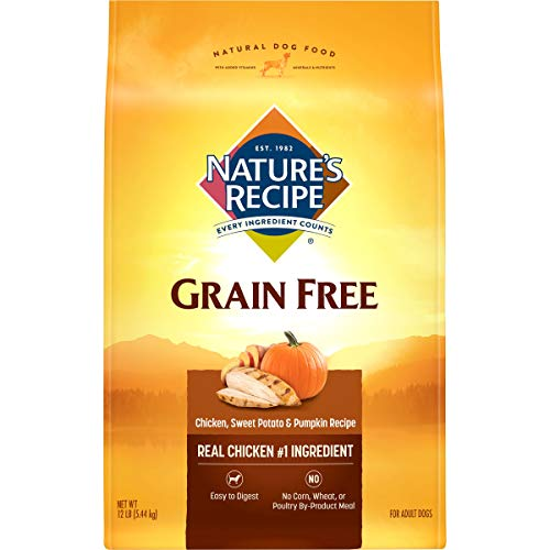 Nature's Recipe Grain Free Dry Dog Food, Chicken, Sweet Potato & Pumpkin Recipe, 12 Pounds, Easy to Digest