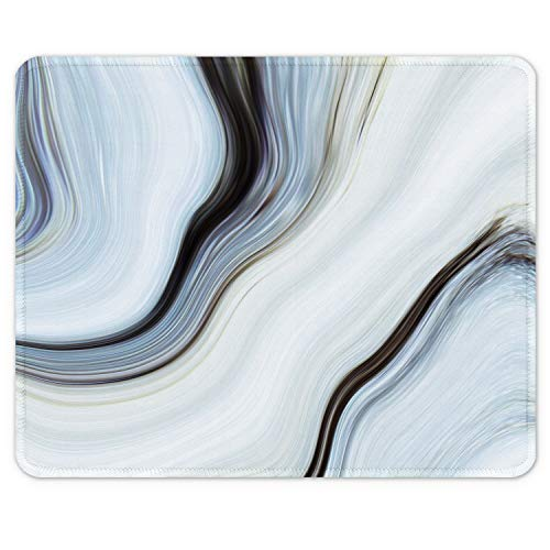 """Auhoahsil Mouse Pad, Square Marble Design Anti-Slip Rubber Mousepad with Stitched Edges for Office Gaming Laptop Computer Men Women, Pretty Customized Pattern, 9.8"""" x 7.9"""", Desktop White Milk Marbile"""