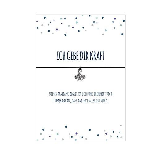 Glücksschmiedin Kraft Armband mit Ginko Blatt Anhänger versilbert, mit elastischem Textilband in schwarz und liebevoller Karte: …dass am Ende alles Gut wird.