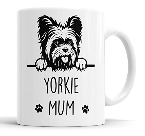 "Faithful Prints Taza de cerámica con texto en inglés ""Yorkie Mum"", regalo de mascota, diseño de Yorkshire Terrier, para mamá, papá, amigo, broma, regalo divertido para cumpleaños, Navidad,"