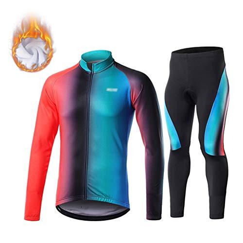 Cyclisme Veste Costume vélo Costume Automne hommes et hiver chaud à manches longues et respirante Costume Faire du vélo et pantalon avec une éponge extensible Coussins Toison Mountain Equipment Vélo M