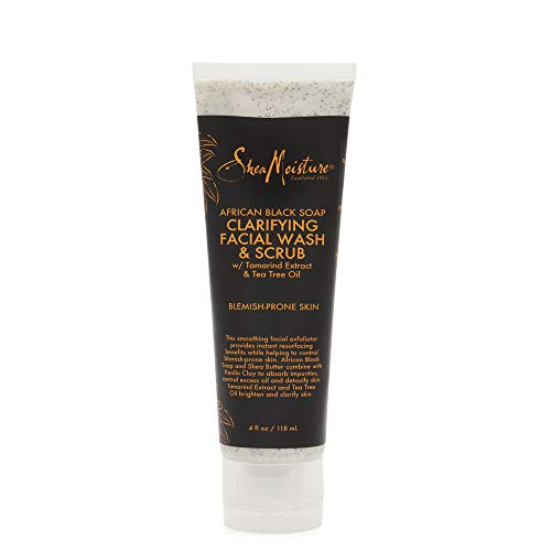 SheaMoisture Clarifying Facial Wash & Scrub for Oily, Blemish-Prone Skin African Black Soap to Clarify Skin 4 oz