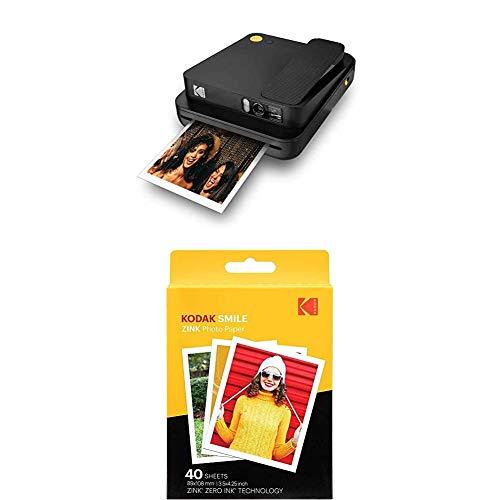 KODAK Printomatic - Cámara de impresión instantánea, Gris + Paquete de 40 Hojas