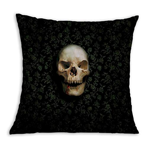 Skulls Among The Flowers Comfortable Pillowcase Home Decoration Garden Cushion Cover Square Inside and Outside