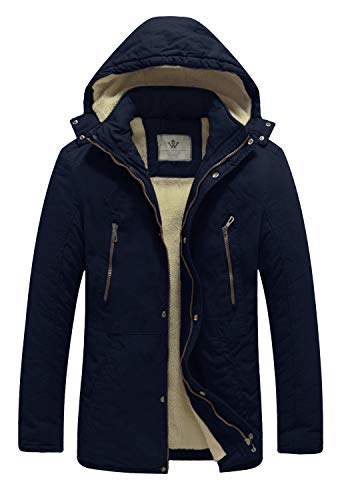 WenVen Men's Winter Washed Cotton Sherpa Lined Parka Casual Jacket (Navy,L)