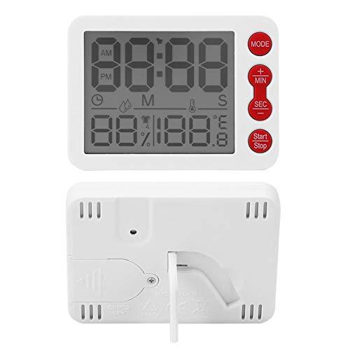 Termómetro Reloj Temperatura interior Medidor de humedad Oficina para el hogar(White shell red key)